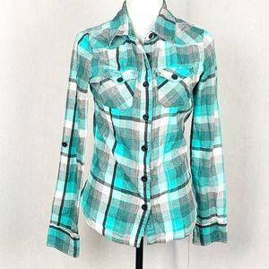 O'Neill Green Black Cream Plaid Flannel Shirt L